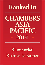 Ranked in Chambers Asia Pacific 2014, Blumenthal Richter & Sumet
