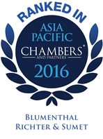 Ranked in Chambers Asia Pacific 2016, Blumenthal Richter & Sumet